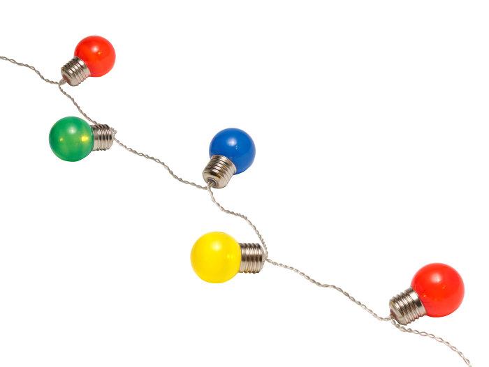 Ubrugte Party-lyskæde med 10 kulørte pærer   jem & fix DA-66