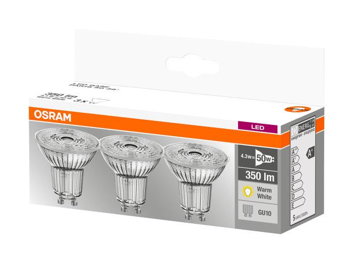 Pack of 5 LED GU10 3W Warm White