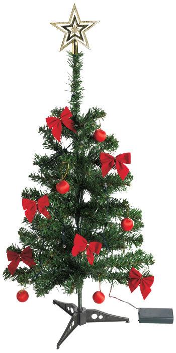 Juletræ med 10 LED-pærer og pynt