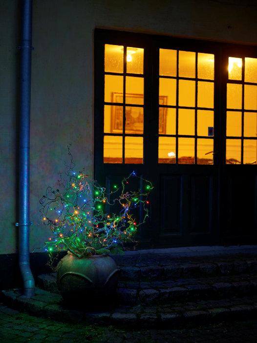 Lyskæde med 200 multifarvede LED-pærer