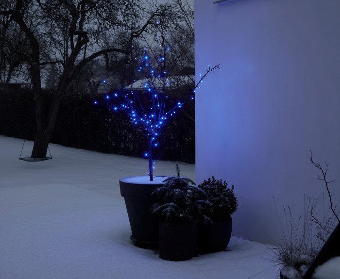 Lyskæde med 100 blå LED-pærer