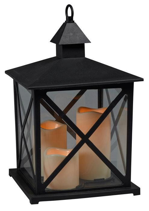 Lanterne firkantet med 3 stk. LED-bloklys
