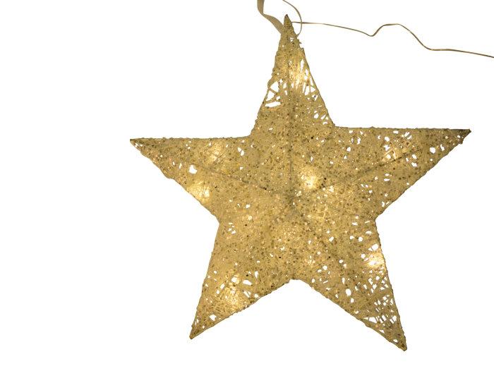 Adventsstjärna Glitter vit/guld