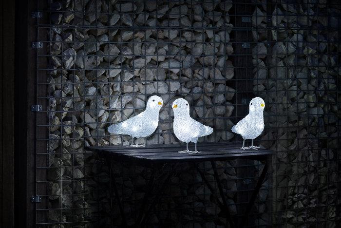 Fugle i akryl med LED 3 stk.