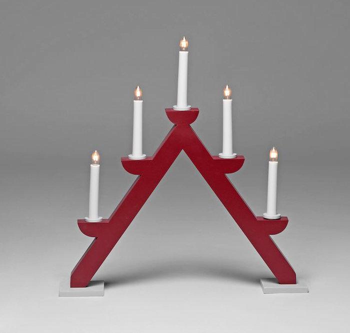 Adventsljusstake 5 ljus Röd / Grå