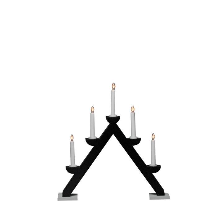 Adventsljusstake 5 ljus Svart / Grå