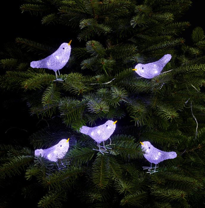 Fugle i akryl med LED-lys sæt med 5 stk.