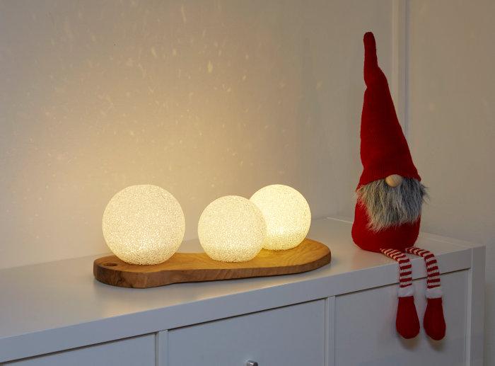 Snebolde med LED-lys 3 stk.