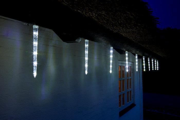 Lyskæde med 10 LED istapper