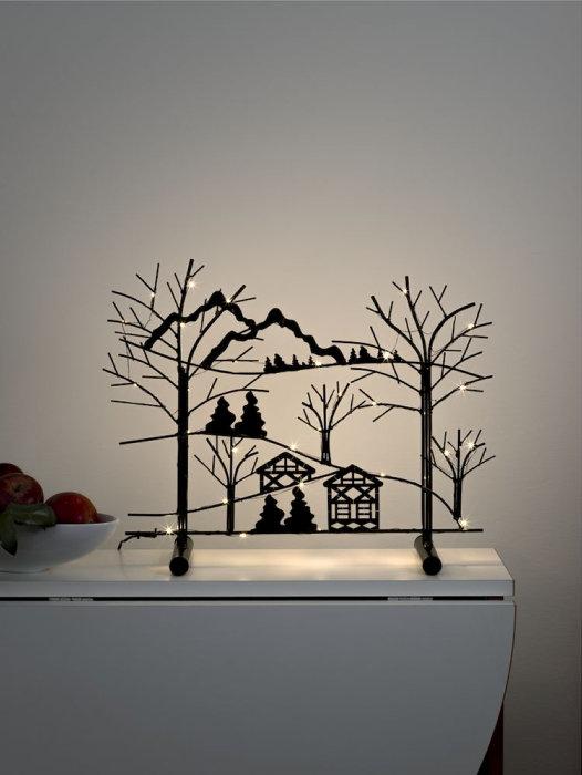 Ljusstake Metall Träd & Gran