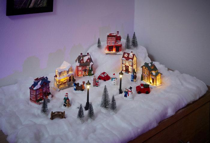 Vinterlandsby 25 dele med LED