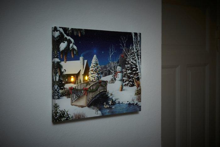 Billede af hus med LED 30 x 40 cm