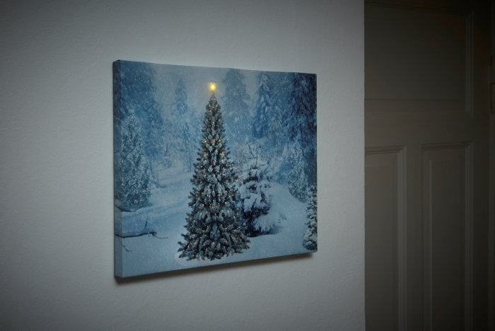 Billede af juletræ med LED 30 x 40 cm