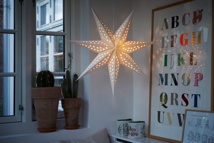Papirstjerne med LED Ø60 cm
