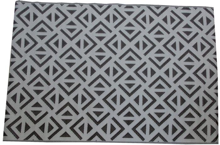 Plastteppe 160 x 230 cm – grå med sort mønster