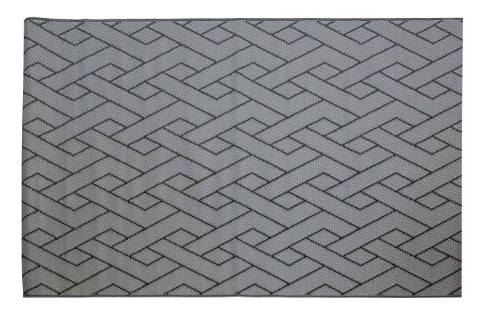 Plastteppe 160 x 230 cm – sort med grå striper