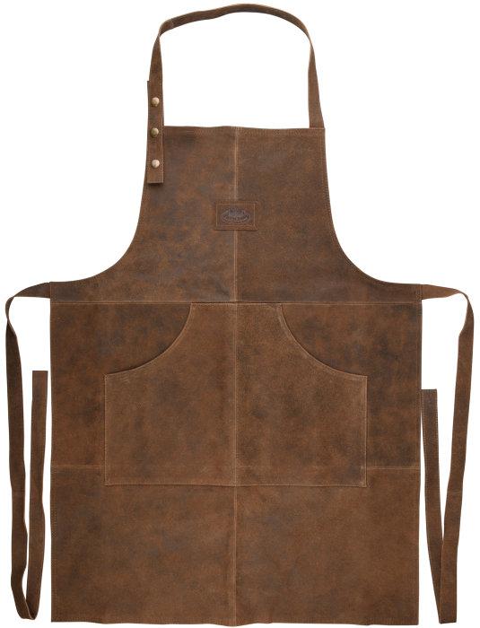 BBQ forklæde i brun læder