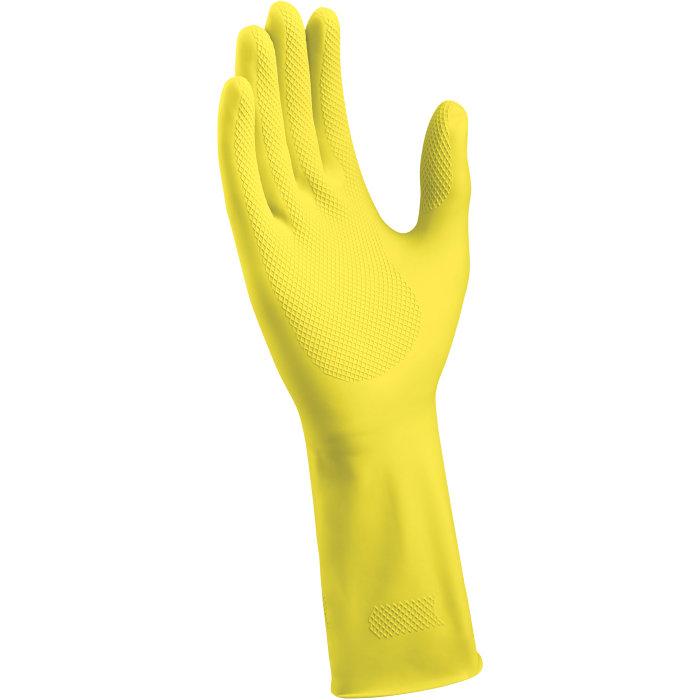 Gummihandske gul str. M