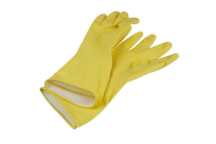Gummihandske gul str. L
