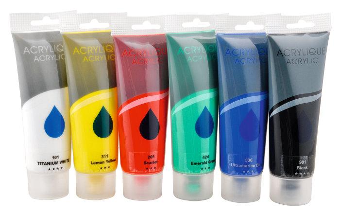 Akrylfarver i 6 basisfarver á 75 ml