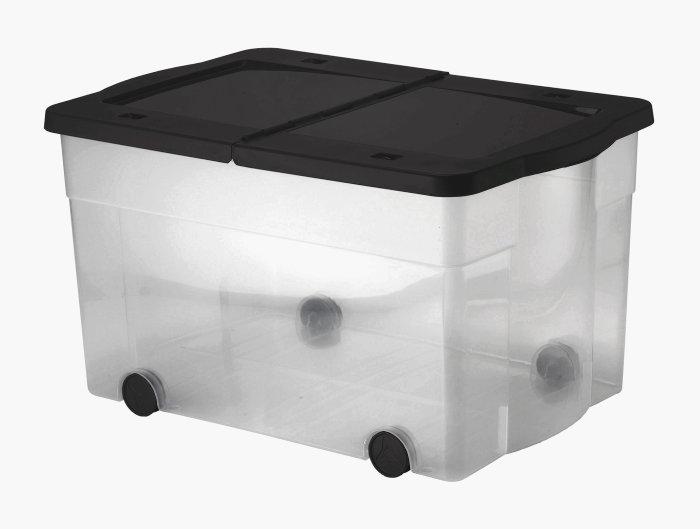 Plastkasse i klart/gråt plast - 100 liter