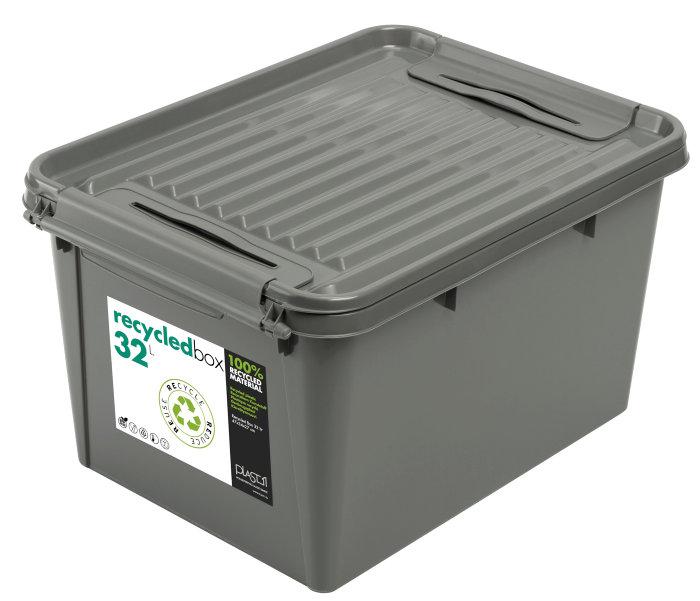 Plastboks med låg 32 liter grå