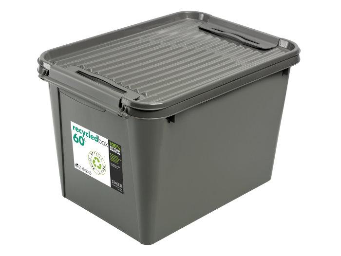 Plastboks med låg 60 liter grå