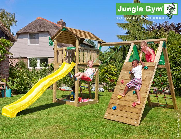 Jungle Gym Cottage legetårn med klatremodul