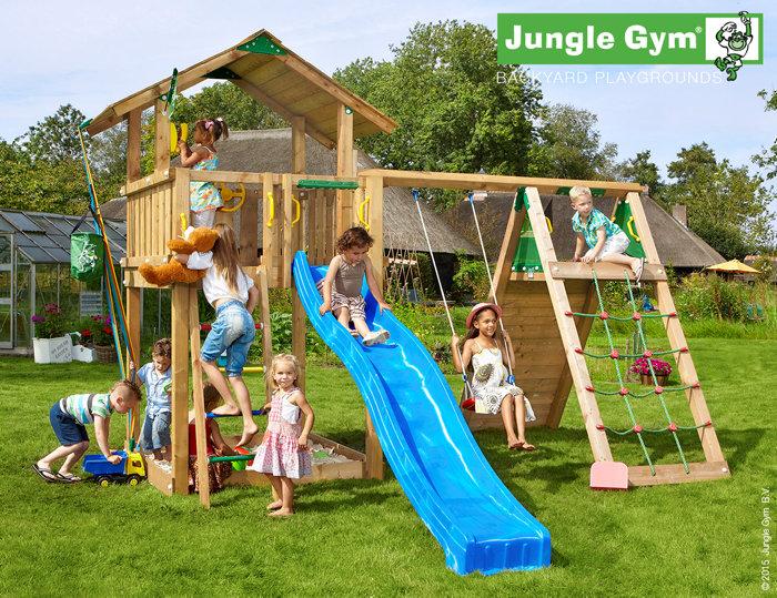 Jungle Gym Chalet legetårn med klatremodul