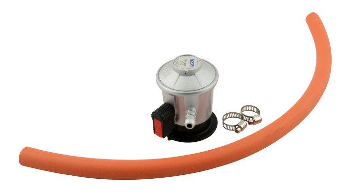 Gasregulator sæt m/gummislange og 2 spændebånd