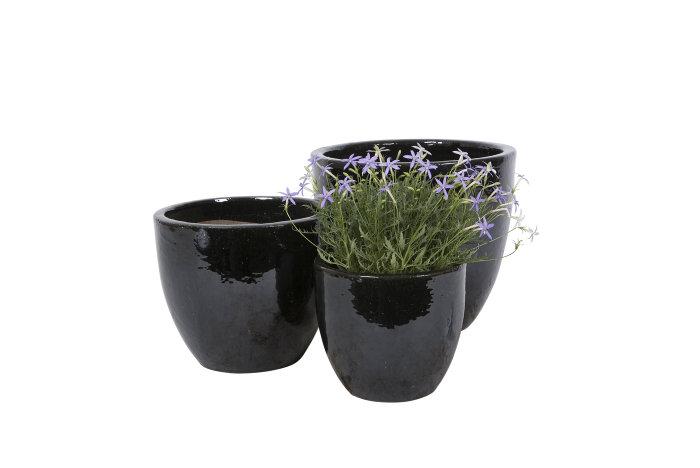 Krukkesæt keramik sort 3 stk.