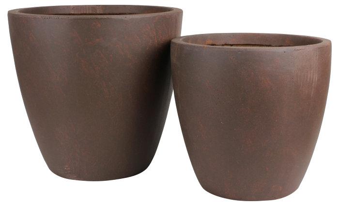 Krukkesæt runde 2 stk. fiberclay rust