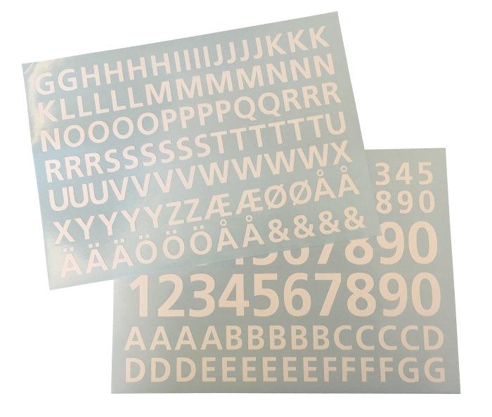 Topmoderne MEFA folieark med tal og bogstaver i hvid | jem & fix WM-88
