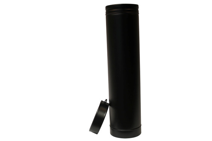 Skorstenssektion 100 cm sort inkl. spændebånd