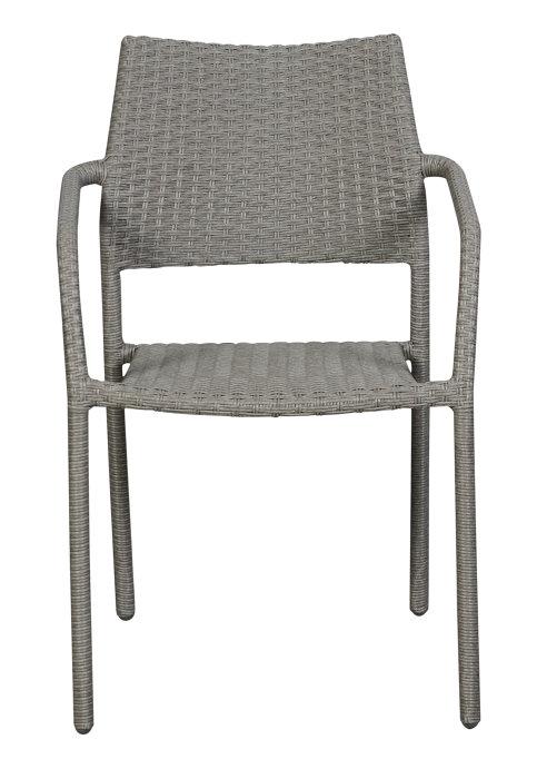 Havestol metal/rattan grå stabelbar