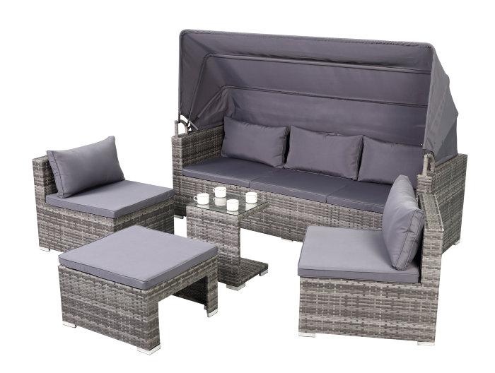 Loungesæt 5 dele med solskærm