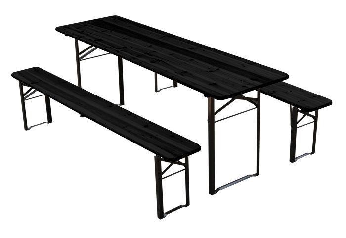 Bord/bænkesæt fyrretræ og stål - foldbart
