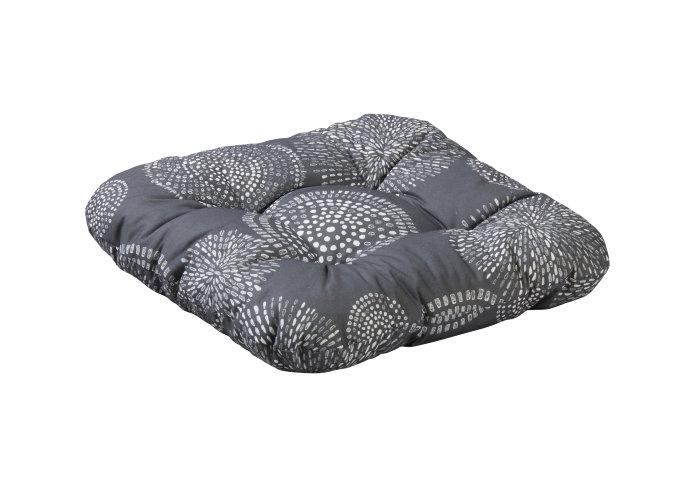 Sædehynde Nuuk 38 x 38 x 8 cm grå mønster - Sunlife