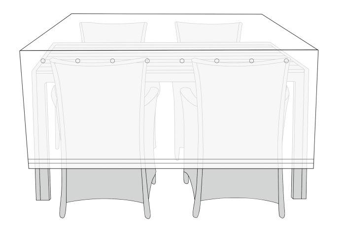 Overtræk havemøbelsæt - L170 x B130 x H115 cm