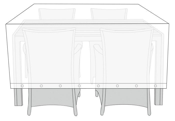Overtræk til havemøbelsæt L 160 x B 120 x H 110 cm