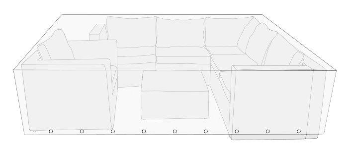 Overtræk til loungemøbelsæt L260 x B260 x H65 cm - Sunlife