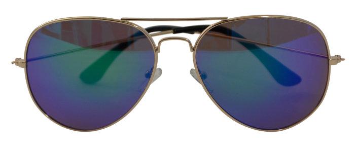 Solbrille guldmetal m/brunt glas