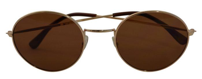 Solbrille unisex guldmetal m/brunt glas