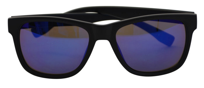Solbrille unisex mat sort plast m/blå glas