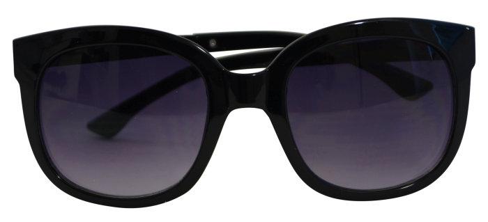 Solbrille dame sort stel m/sort glas