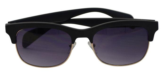 Solbrille unisex sort metal/plast m/mørkt glas