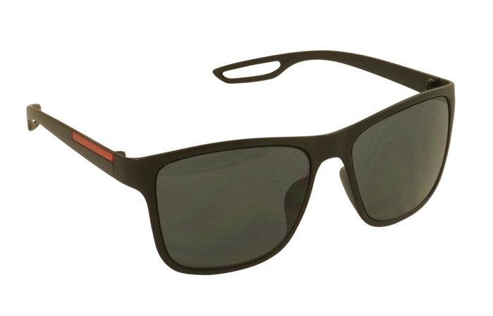 Solbrille mat sort m/rød detalje
