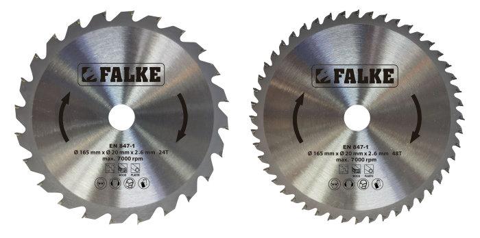 Falke rundsavsklingesæt Ø165 mm 2 stk.