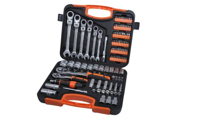 Værktøjssæt i robust CRV stål med 104 dele