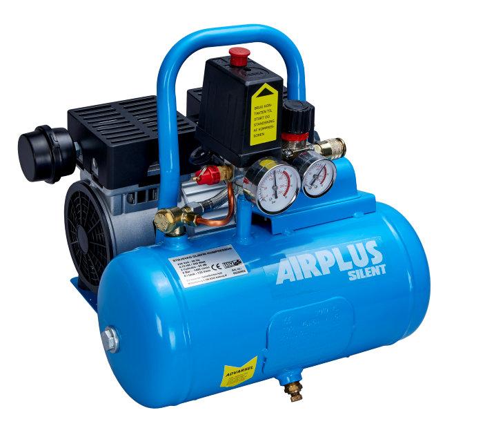 Kompressor støjsvag 0,75 hk og 6 liter tank